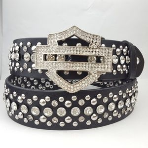 Harley-Davidson Crystal & Stud Leather Belt